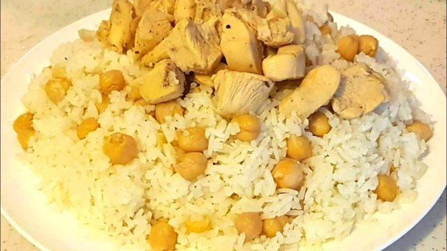 طريقة عمل أرز بالدجاج والحمص